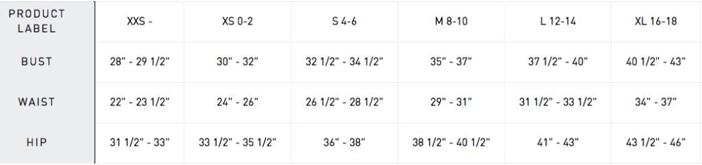 Adidas Women Size Chart