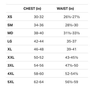 Ua General Men Size Chart Quali T Inc E S