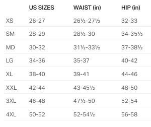 Ua Pants Men Size Chart